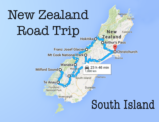 New Zealand Road Map South Island.New Zealand