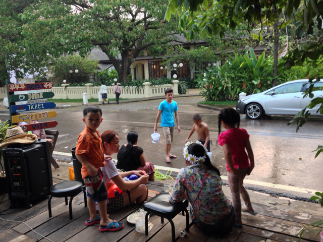 The kids at our guesthouse having fun with the water fights