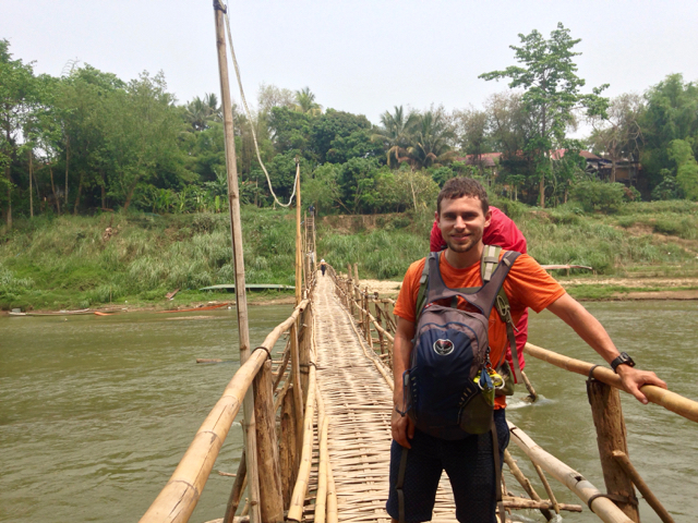 Our bamboo bridge in Luang Prabang. We had to cross it everyday to get from our hotel into town.