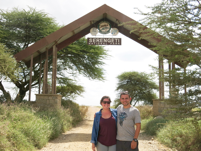 I have no photos of our meals, so here you can get a photo of us at the gate to the Serengeti!